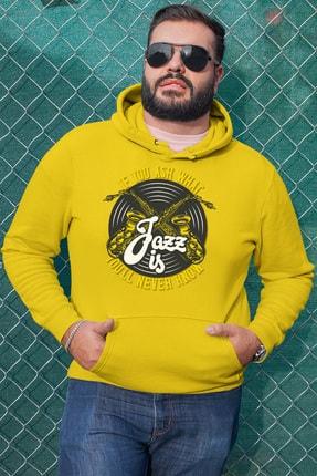 Angemiel Wear Jazz Ve Saksafon Sarı Erkek Kapüşonlu Sweatshirt