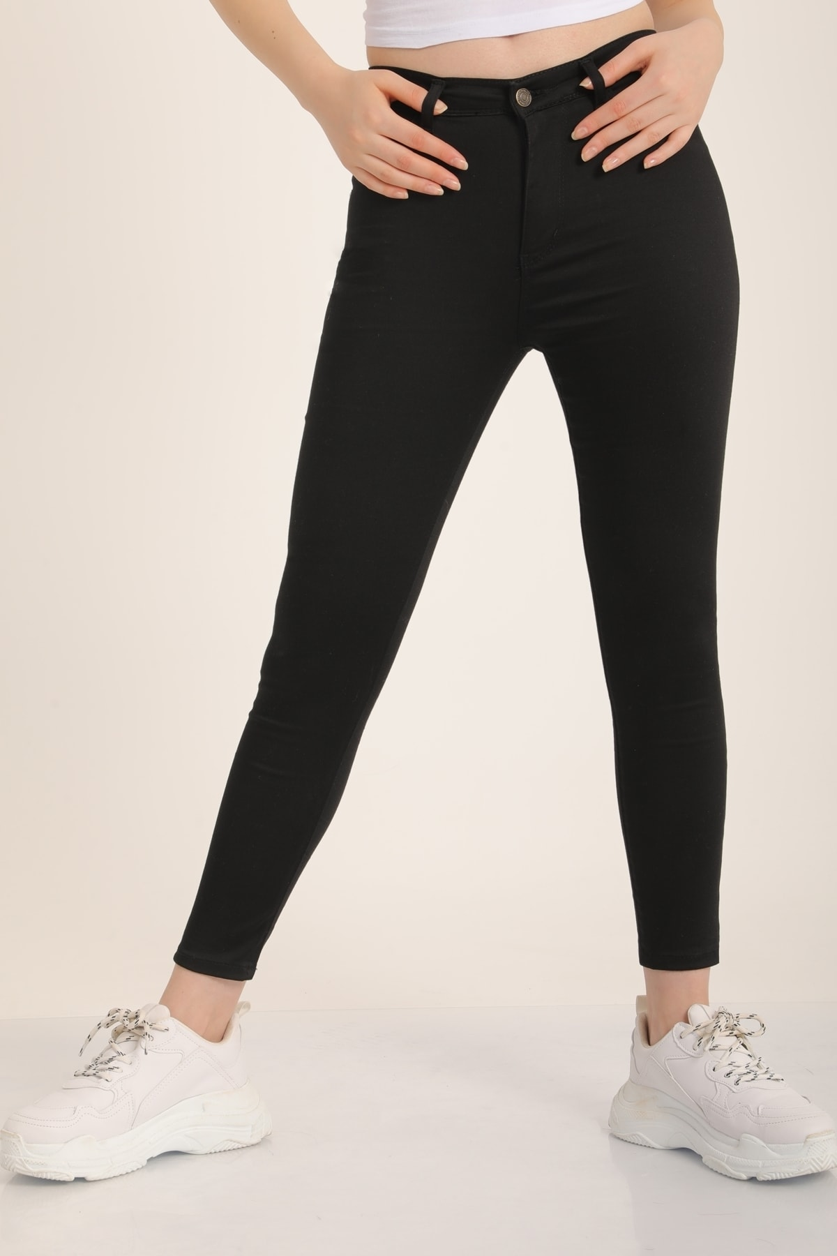 MD trend Kadın Siyah Yüksek Bel Skinny Jean Pantolon Mdt4542 2
