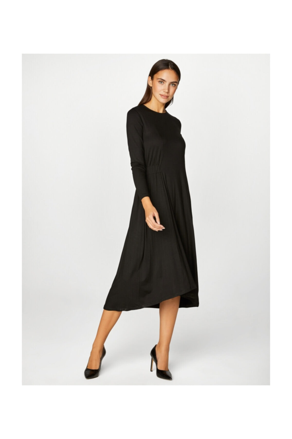 Faik Sönmez Kadın Siyah Asimetrik Elbise 39242 1