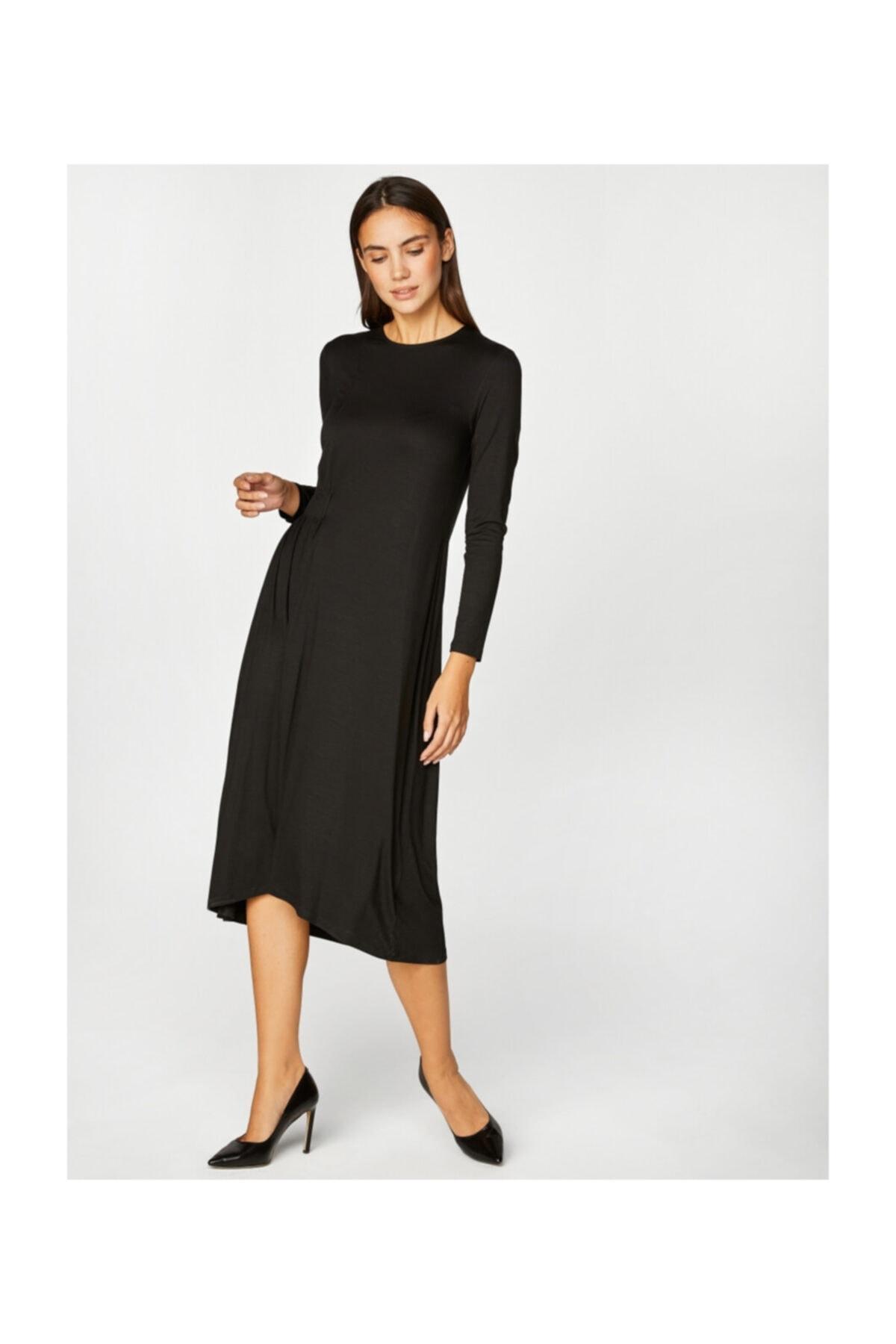 Faik Sönmez Kadın Siyah Asimetrik Elbise 39242 2