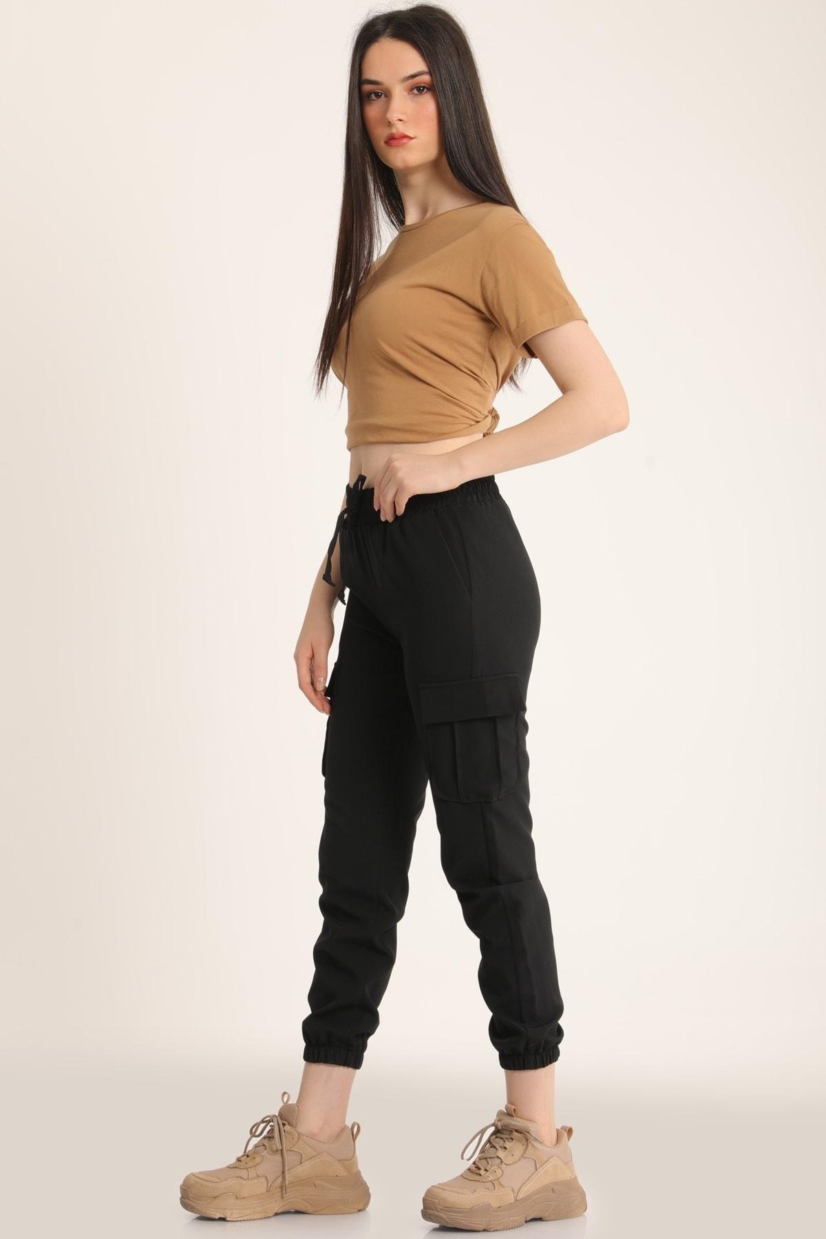 MD trend Kadın Siyah Bel Lastikli Kargo Cepli Pantolon Mdt5296 2