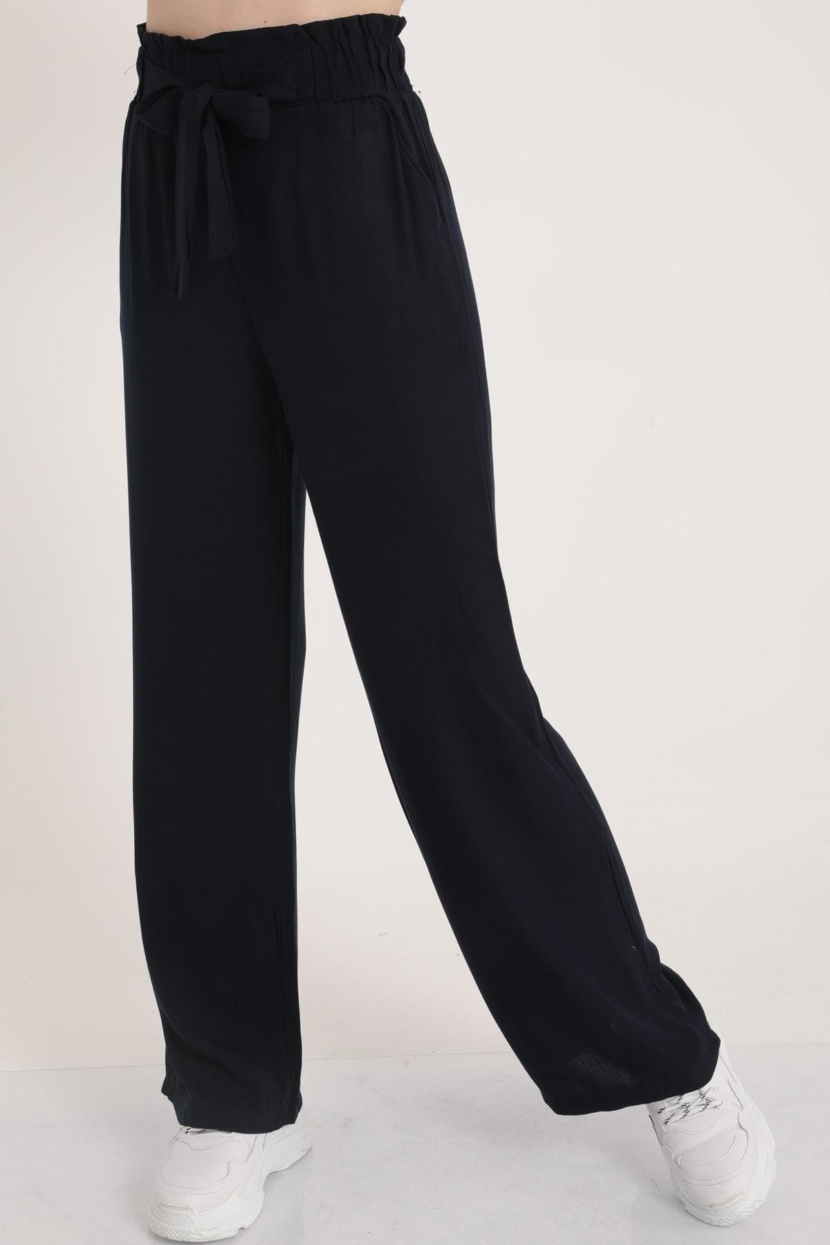 MD trend Kadın Lacivert Bel Lastikli Kemerli Salaş Pantolon  Mdt5181 2