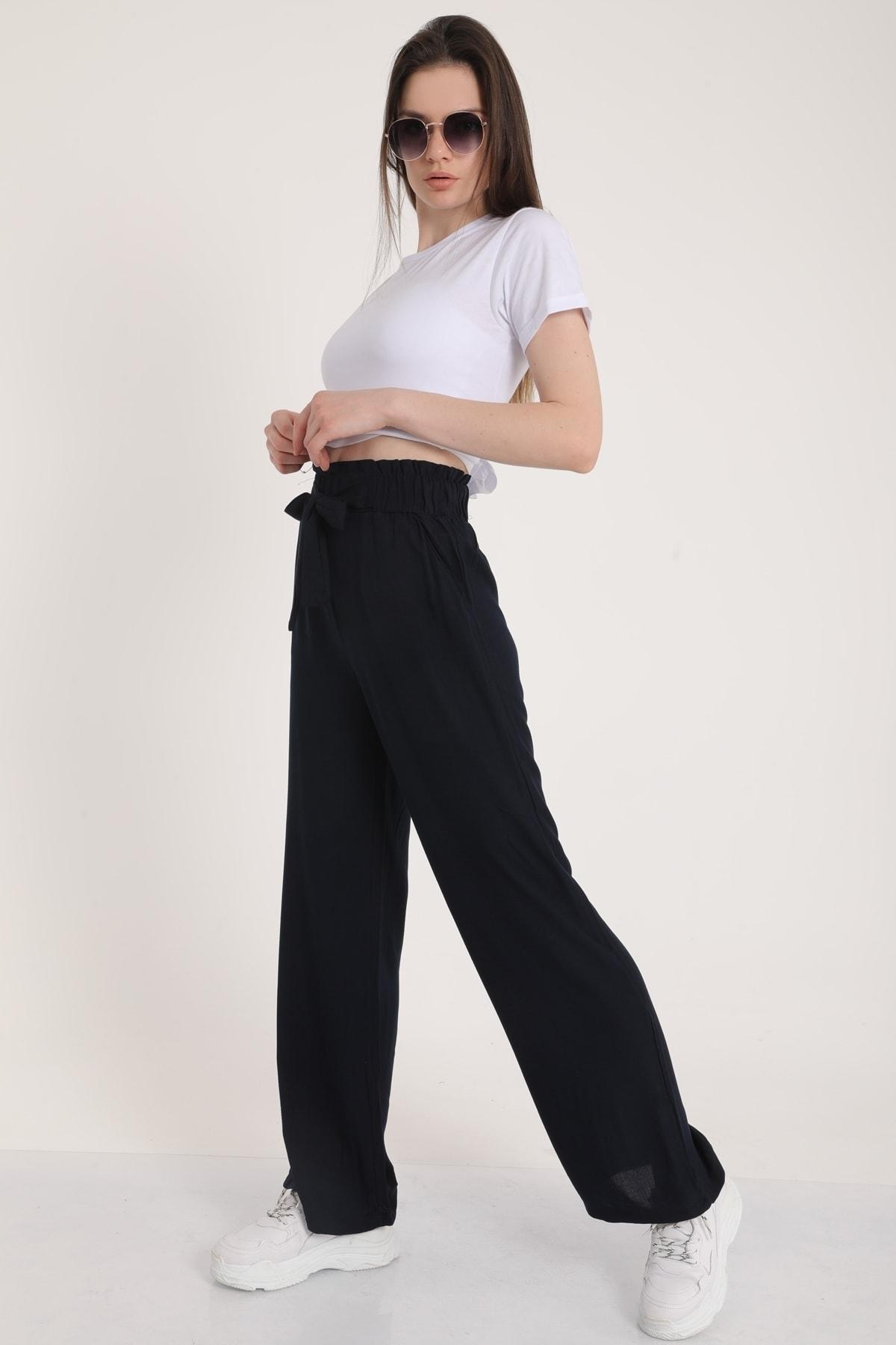 MD trend Kadın Lacivert Bel Lastikli Kemerli Salaş Pantolon  Mdt5181 1