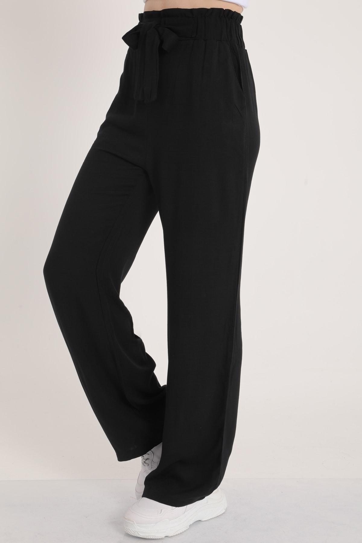 MD trend Kadın Siyah Bel Lastikli Kemerli Salaş Pantolon  Mdt5181 2