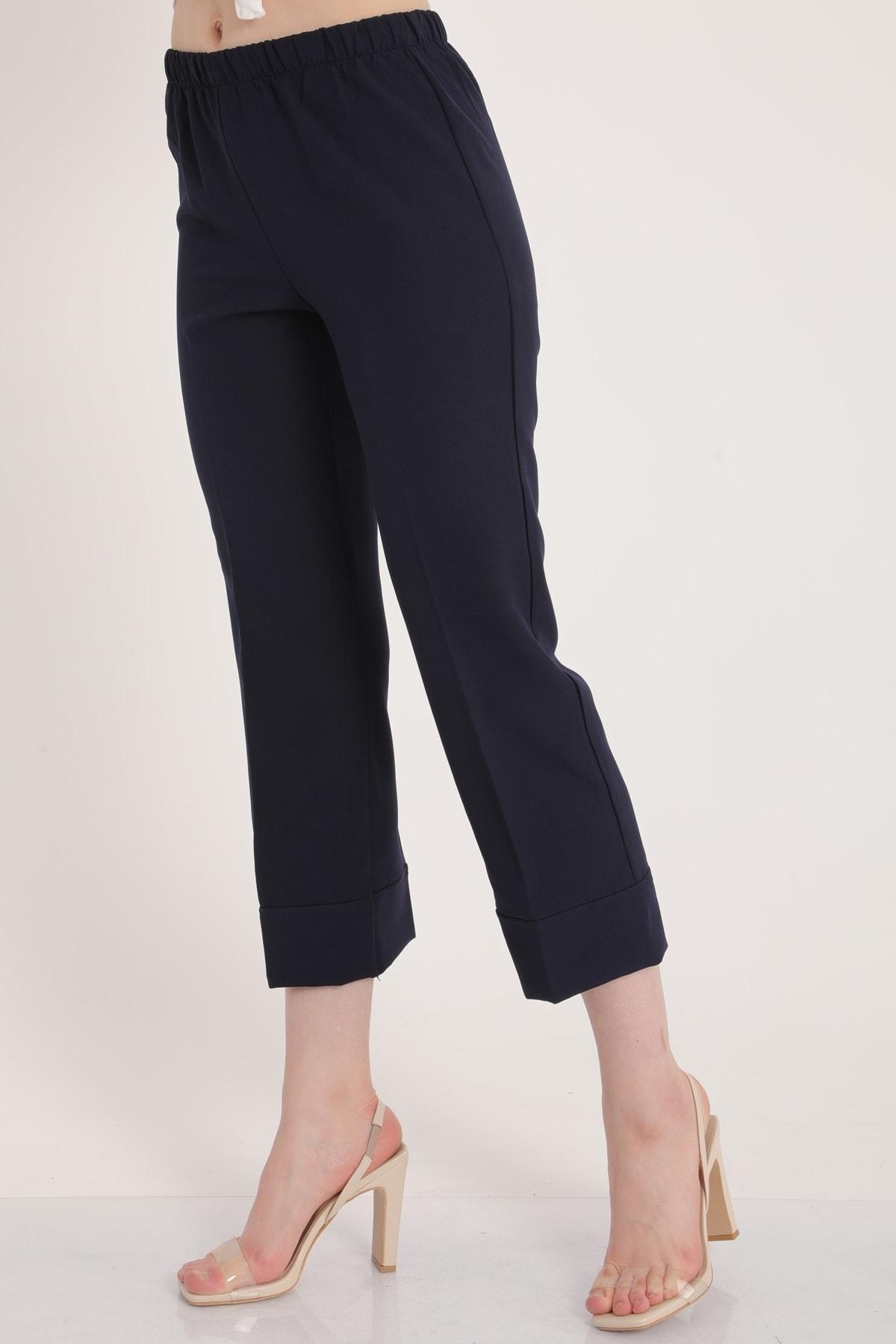 MD trend Kadın Lacivert Bel Lastikli Duble Paça Rahat Kumaş Pantolon Mdt5279 2