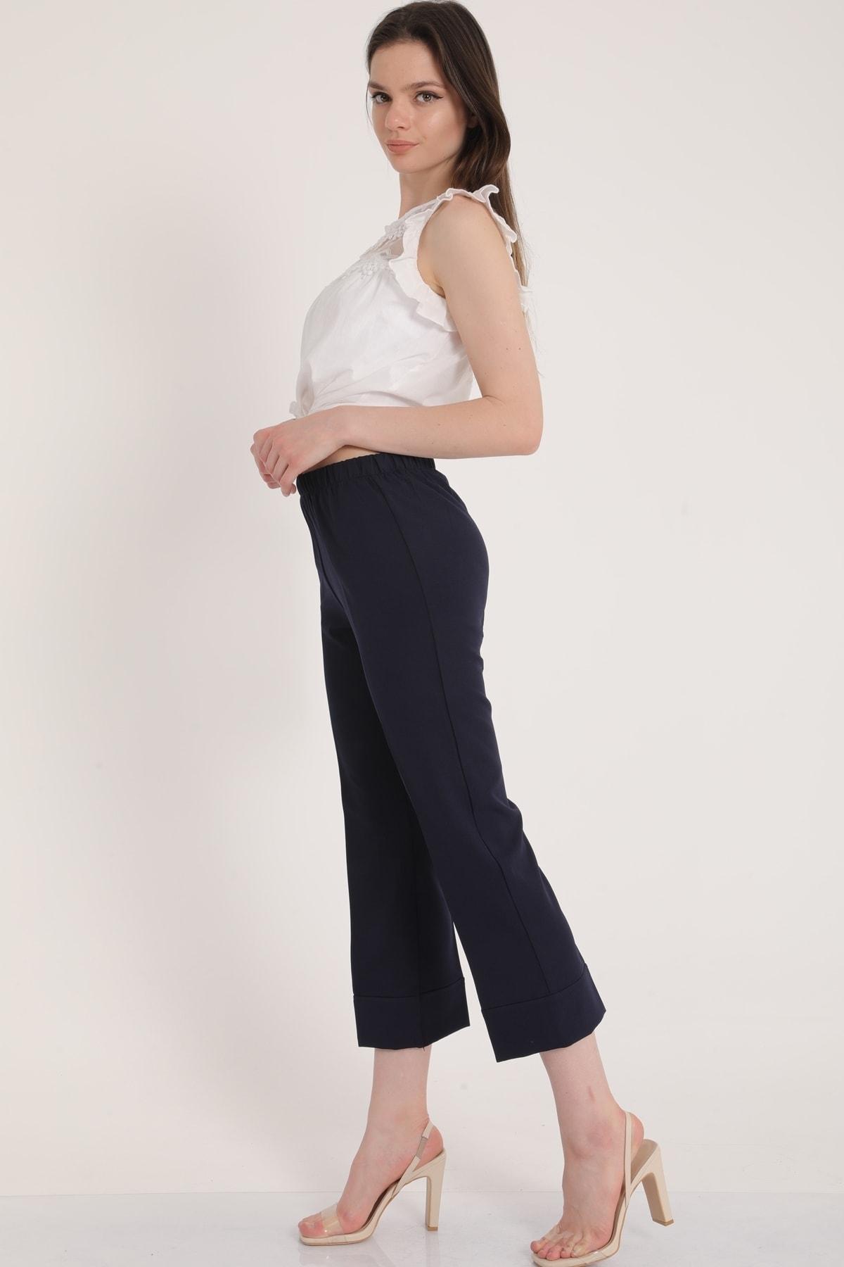 MD trend Kadın Lacivert Bel Lastikli Duble Paça Rahat Kumaş Pantolon Mdt5279 1