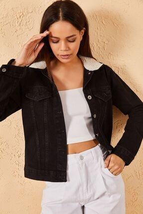 Zafoni Kadın Enzim Yıkamalı Yaka Kürklü Ceket