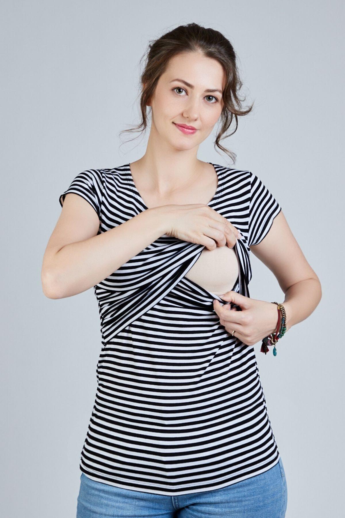 Mamma Lattes Siyah Beyaz Çizgili Hamile Ve Emzirme Tişörtü Poliviscon Esnek Kumaş 1