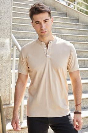 Sateen Men Erkek Bej Hakim Yaka Slimfit T-Shirt STN844ETS112
