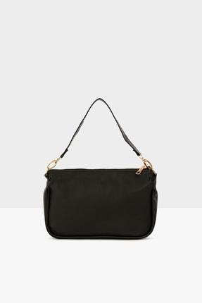 Bagmori Siyah Kadın Saten Fitilli Baget Çanta M000004464