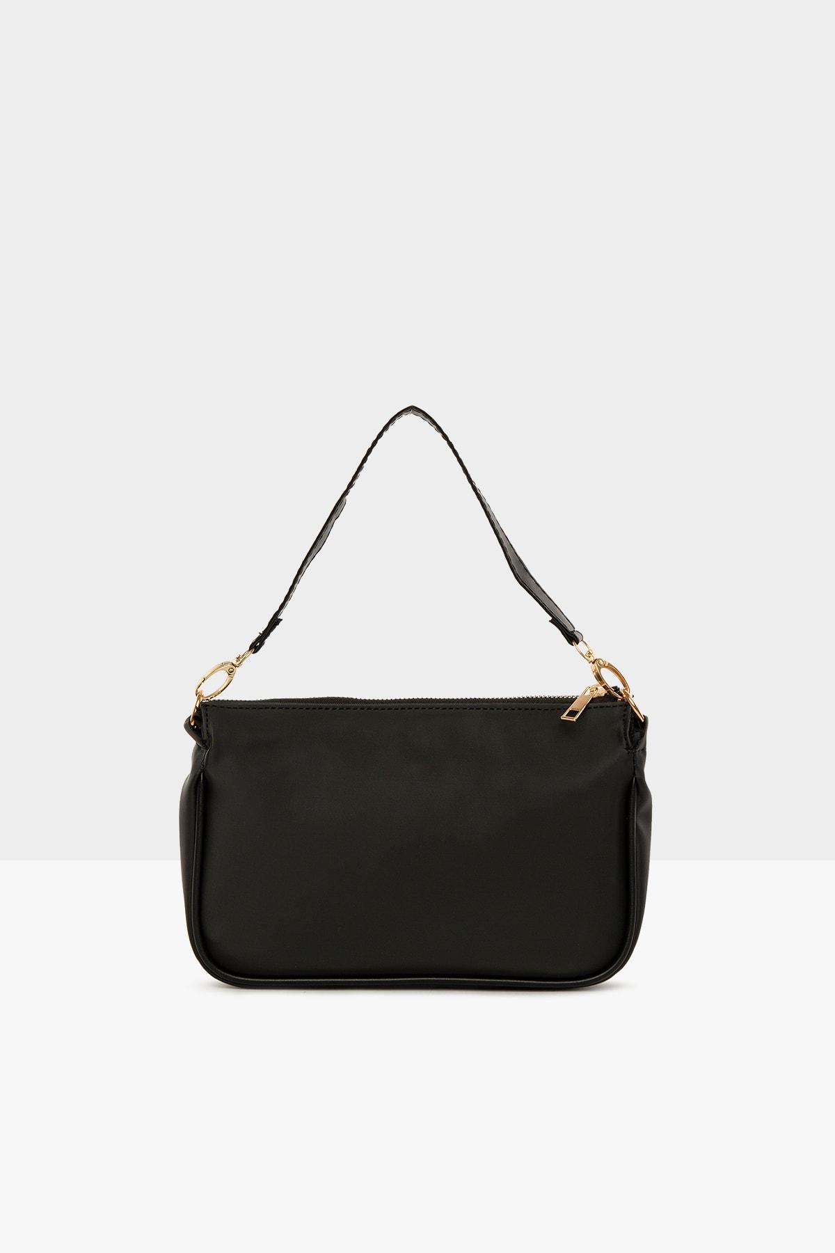 Bagmori Siyah Kadın Saten Fitilli Baget Çanta M000004464 1