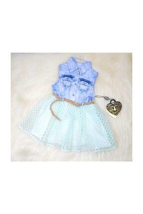 Moonstar Kız Bebek Mavi Dantelli Takım
