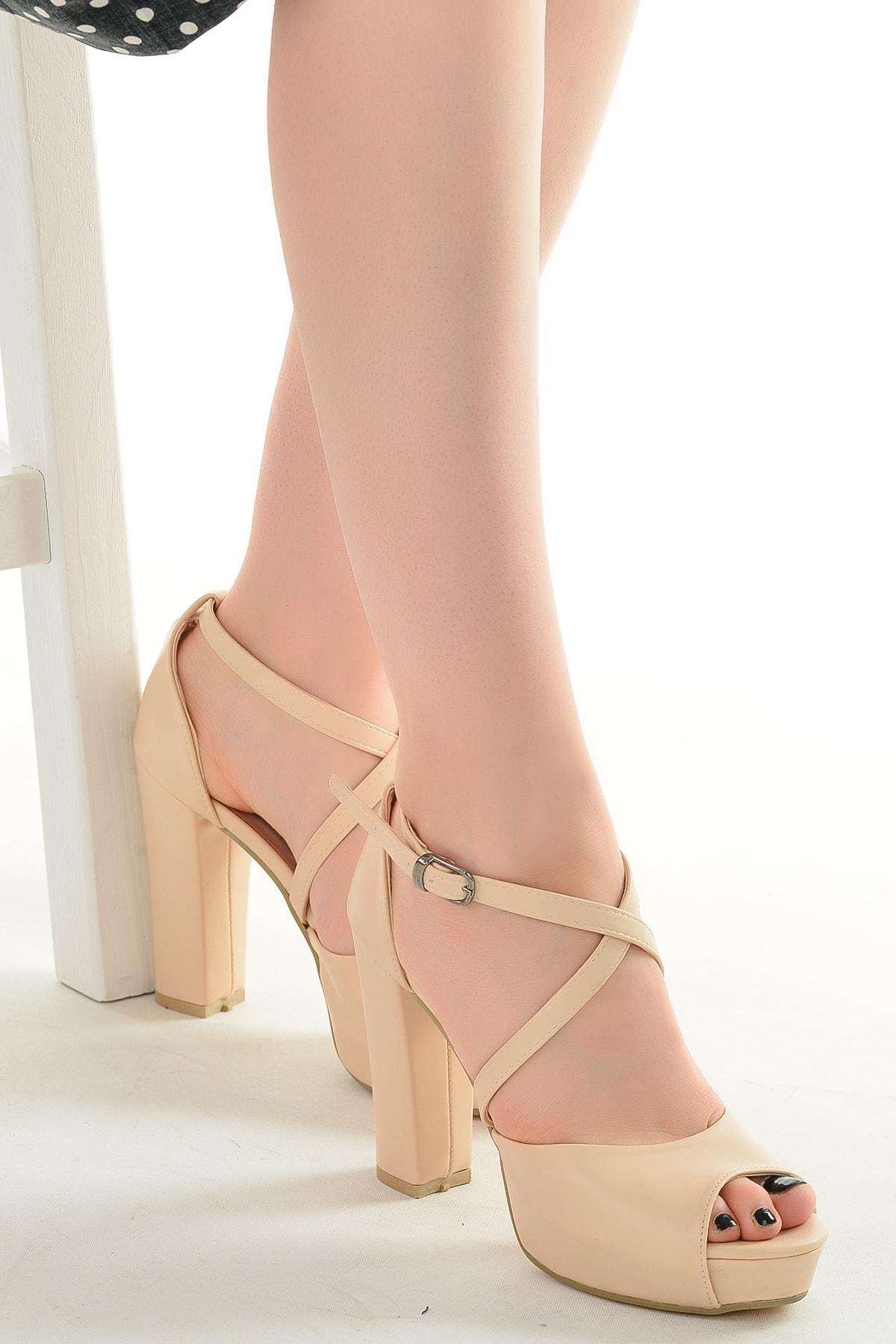 Ayakland Cilt Abiye 11 cm Platform Topuk Sandalet Ayakkabı 3210-2058 1