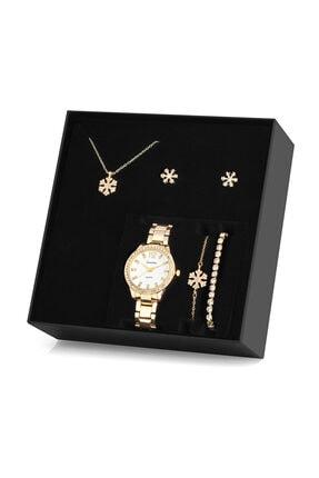 Forentina Altın Kaplama Kar Tanesi Kolye Küpe Bileklik Saat Seti  Hediye Set Ps1081