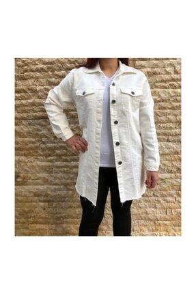 Citizen Beyaz Kanvas Maxi Boy Ceket