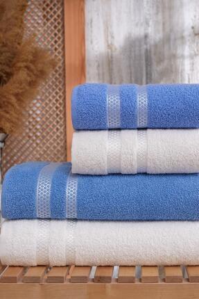 LadyModa %100 Pamuk 4'lü Banyo Havlu Seti   Mavi-Beyaz