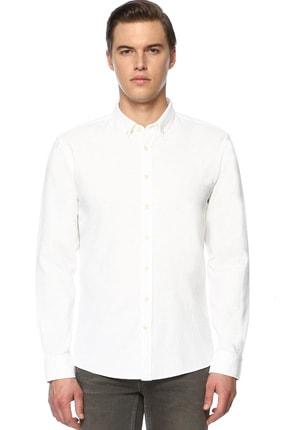 Network Erkek Jakarlı Slim Fit Beyaz Gömlek 1070400