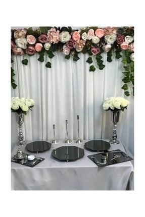 Almila Söz Nişan Gümüş Petek Sunum Masası Seti Jardinyer Şamdan Metal Vazo Tepsi Full Organizasyon Takım