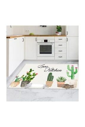 Markaev Kaktüs Desenli Love Kitchen 74 Mutfak Halısı