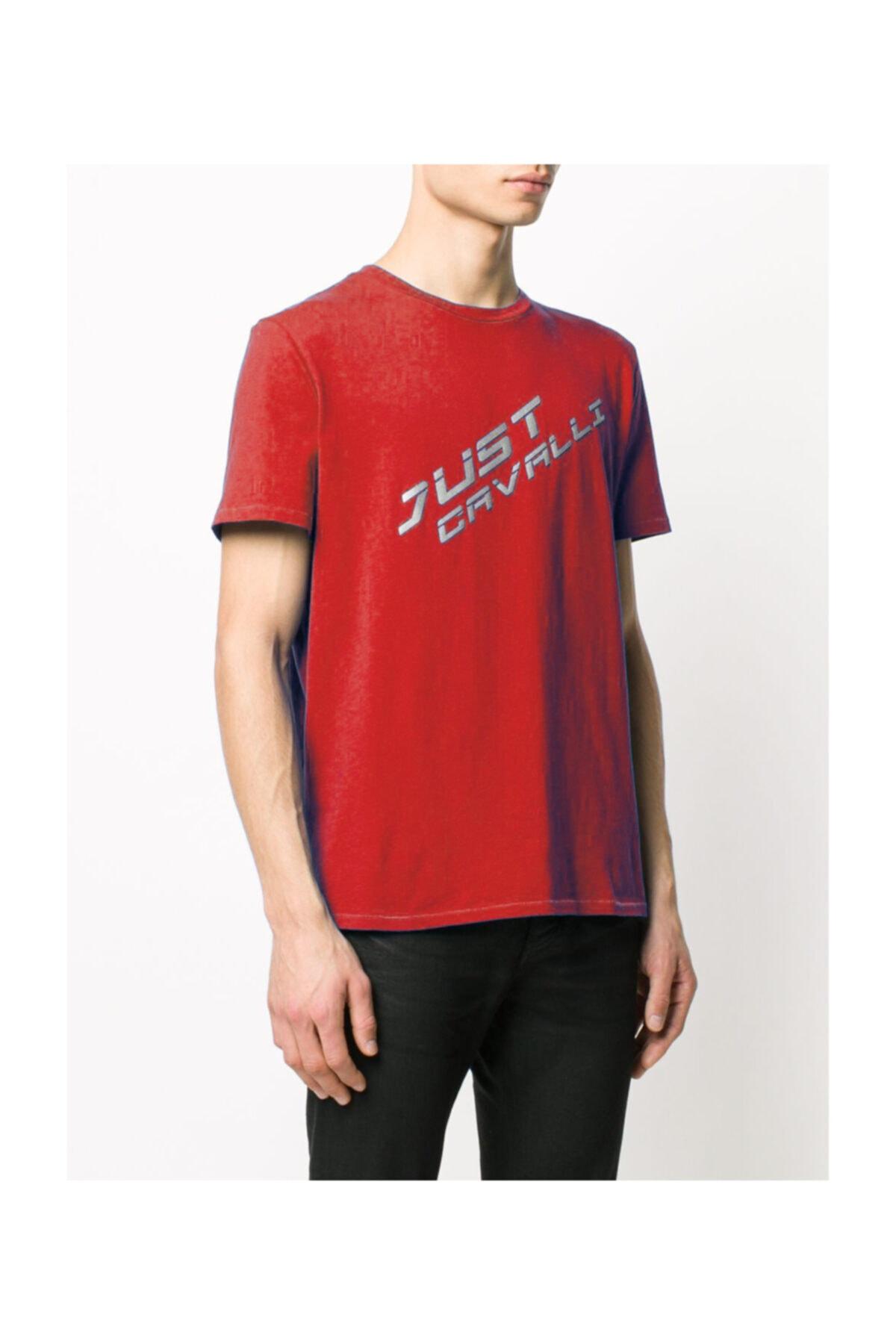 Just Cavalli Erkek Sıfır Yaka Kısa Kollu Kırmızı  T-shirt 2