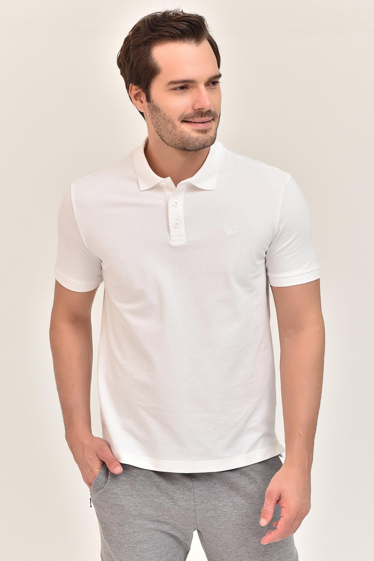 bilcee Beyaz Erkek Polo Yaka T-Shirt GS-8982 1