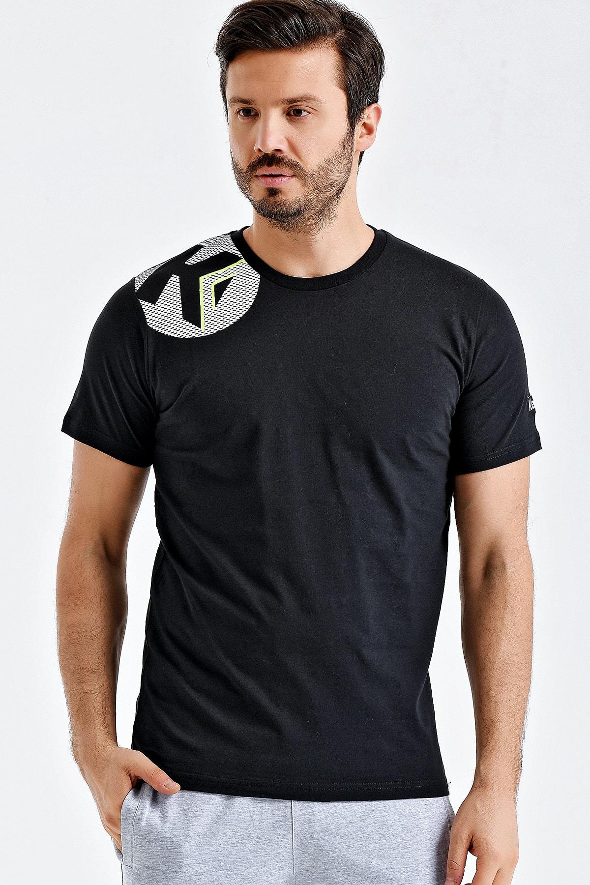 KEMPA Erkek Siyah Pamuklu Bisiklet Yaka T-shirt 1