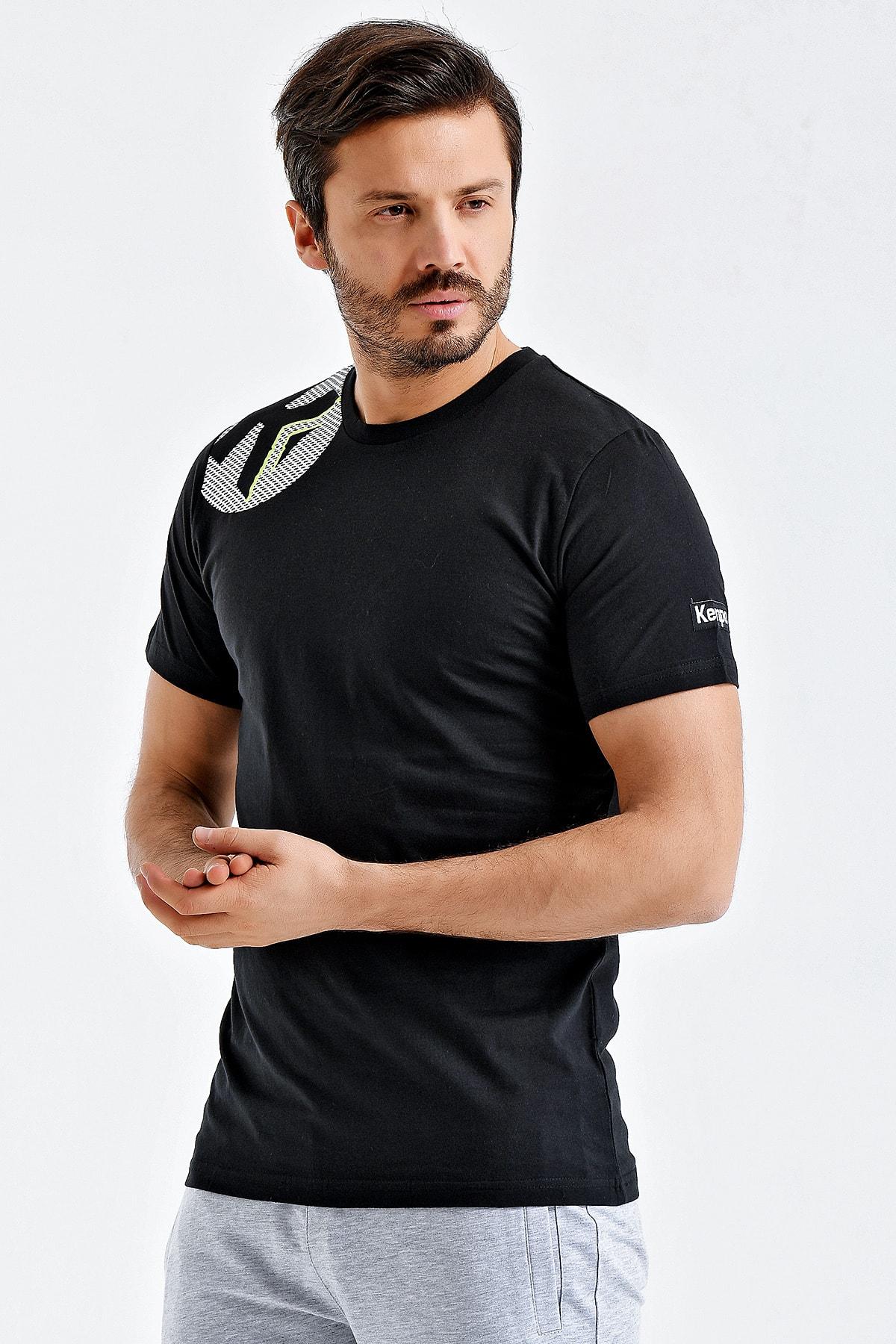 KEMPA Erkek Siyah Pamuklu Bisiklet Yaka T-shirt 2