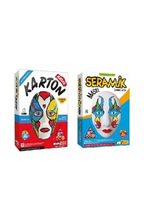 Kumtoys 1 Adet Karton Maske+1 Adet Seramik Maske Boyama Sanatı Seti