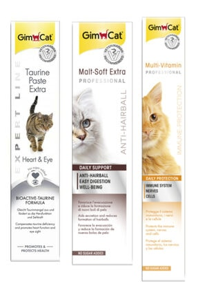 Gimcat Taurine 50gr + Anti-hairball Malt Paste 100gr + Multi Vitamin Paste 100gr Kedi Macunları