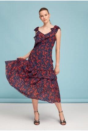Lefon Kırmızı Çiçekli Elbise