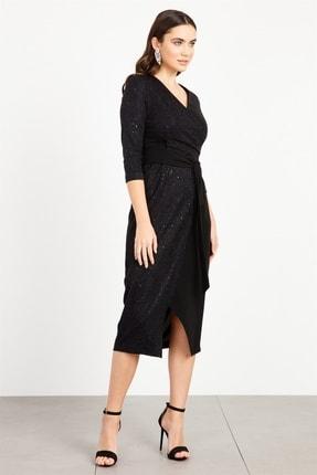Moda İlgi Modailgi Kruvaze Bağcıklı Simli Elbise Siyah
