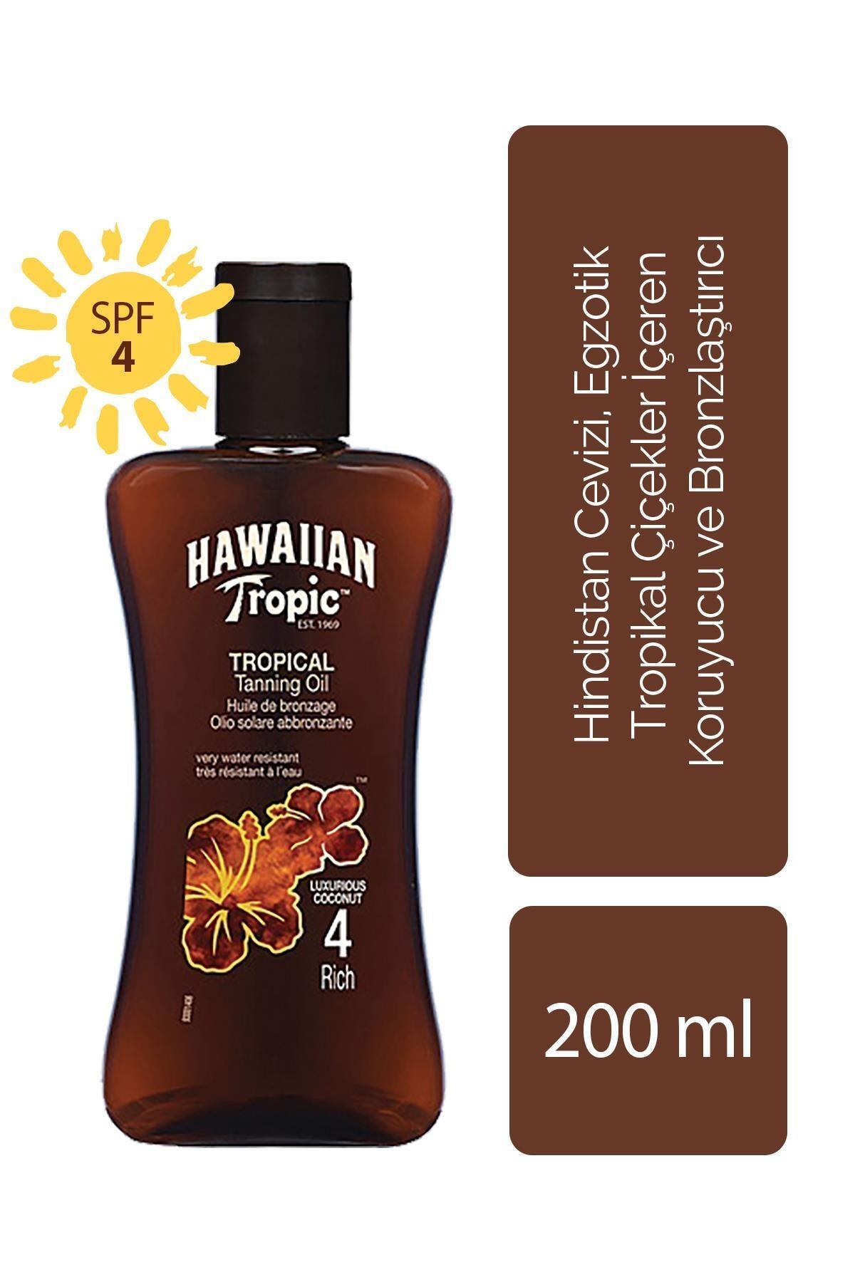 Hawaiian Tropic Hindistan Cevizi, Egzotik Tropikal Çiçekler İçeren Koruyucu Ve Bronzlaştırıcı Yağ Spf 4
