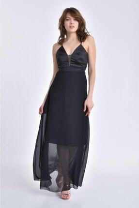 Modkofoni Kadın Askılı Sırt Detaylı Ve Taşlı Siyah Abiye Elbise