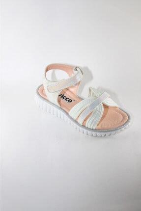 Vicco Beyaz Parlak Frappe Model Kız Çocuk Sandalet