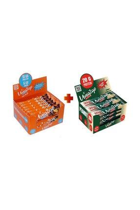 Uniq2Go Fıstık Ezmeli XXL Proteinli Bar 12li Kutu + Chocolight Portakal Parçacıklı bar 16'lı kutu