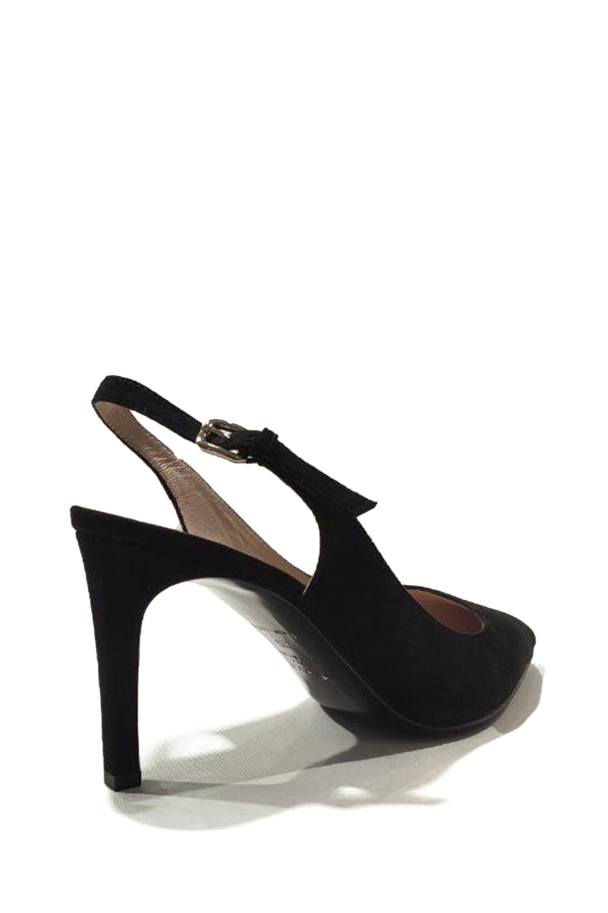 Nursace Kadın Süet Bilekten Bağlamalı İnce Topuk Ayakkabı 2