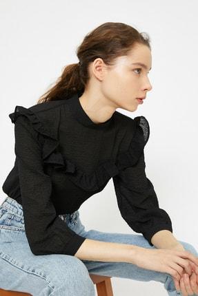 Koton Kadın Siyah Firfir Detayli Bluz