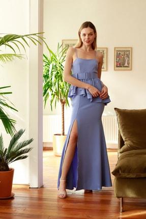 TRENDYOLMİLLA Mavi Peplum Detaylı Abiye & Mezuniyet Elbisesi TPRSS20AE0261