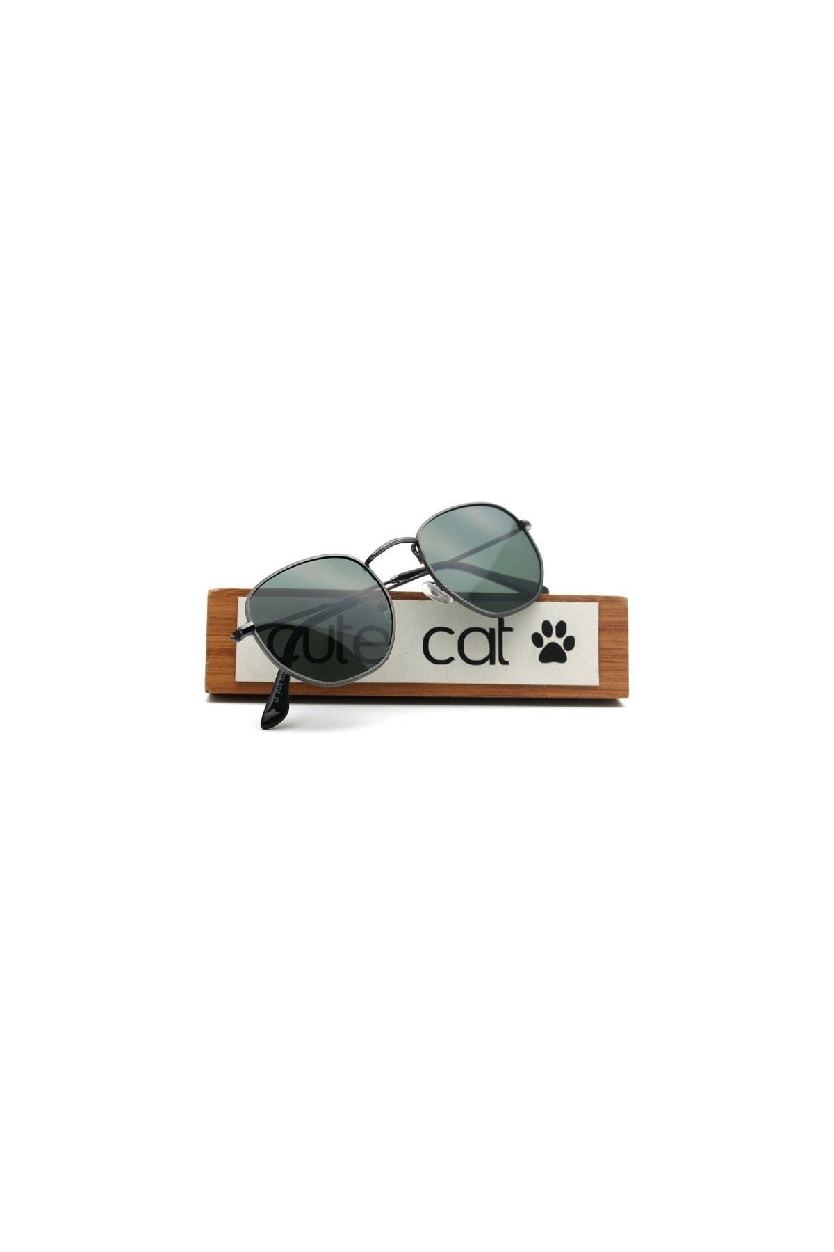 CUTE CAT 3548 Hexagonal Green Polarize Unisex Güneş Gözlüğü 2