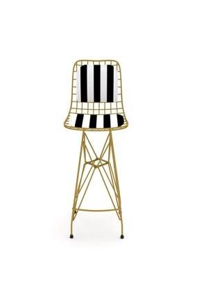 Kenzlife Kafes Tel Bar Sandalyesi 1'Li Zengin Alttuan Sırt Minderli Ofis Cafe Bahçe Mutfak