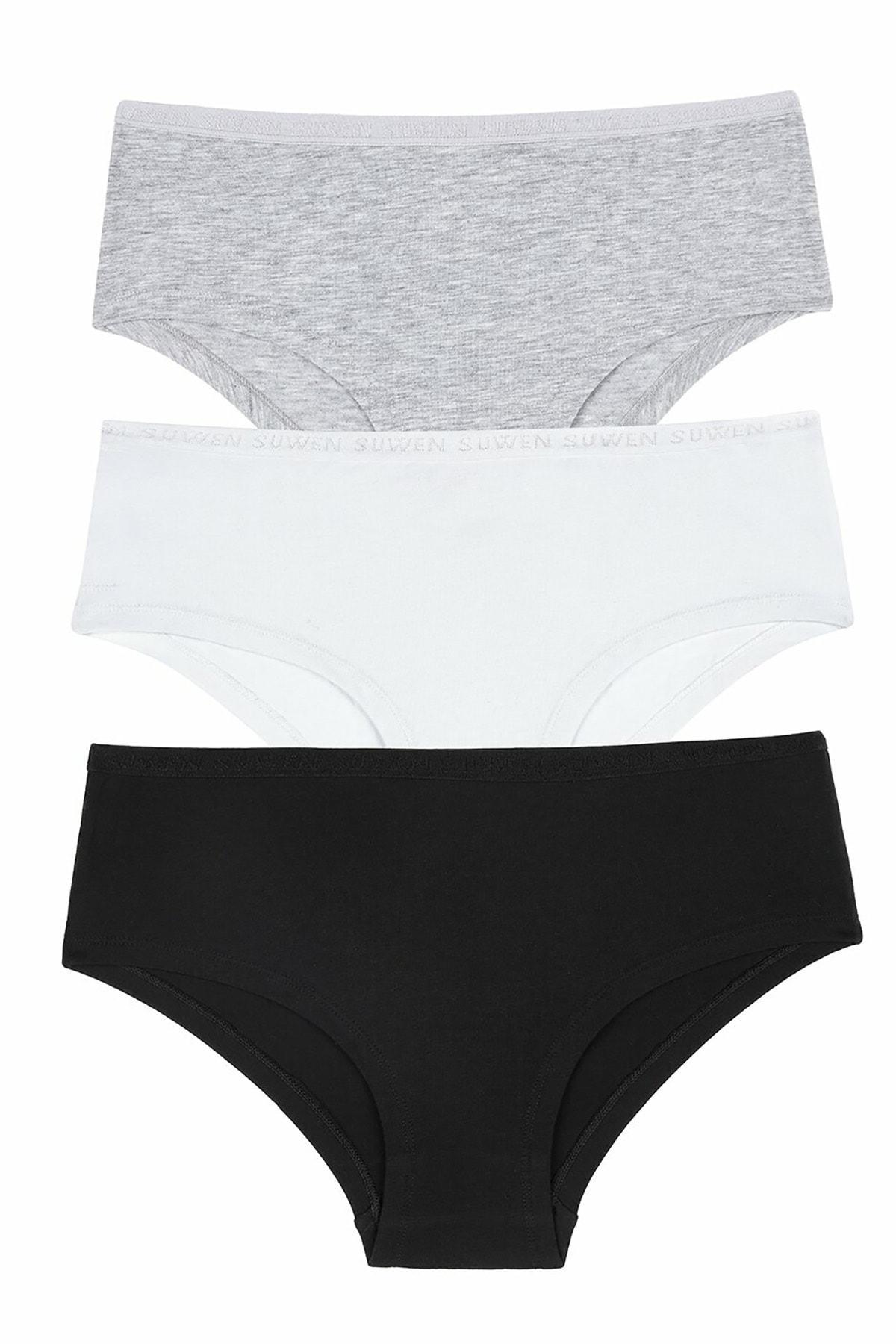 SUWEN Kadın Siyah/Gri/Beyaz 3 Lü Pamuklu Hipster Külot