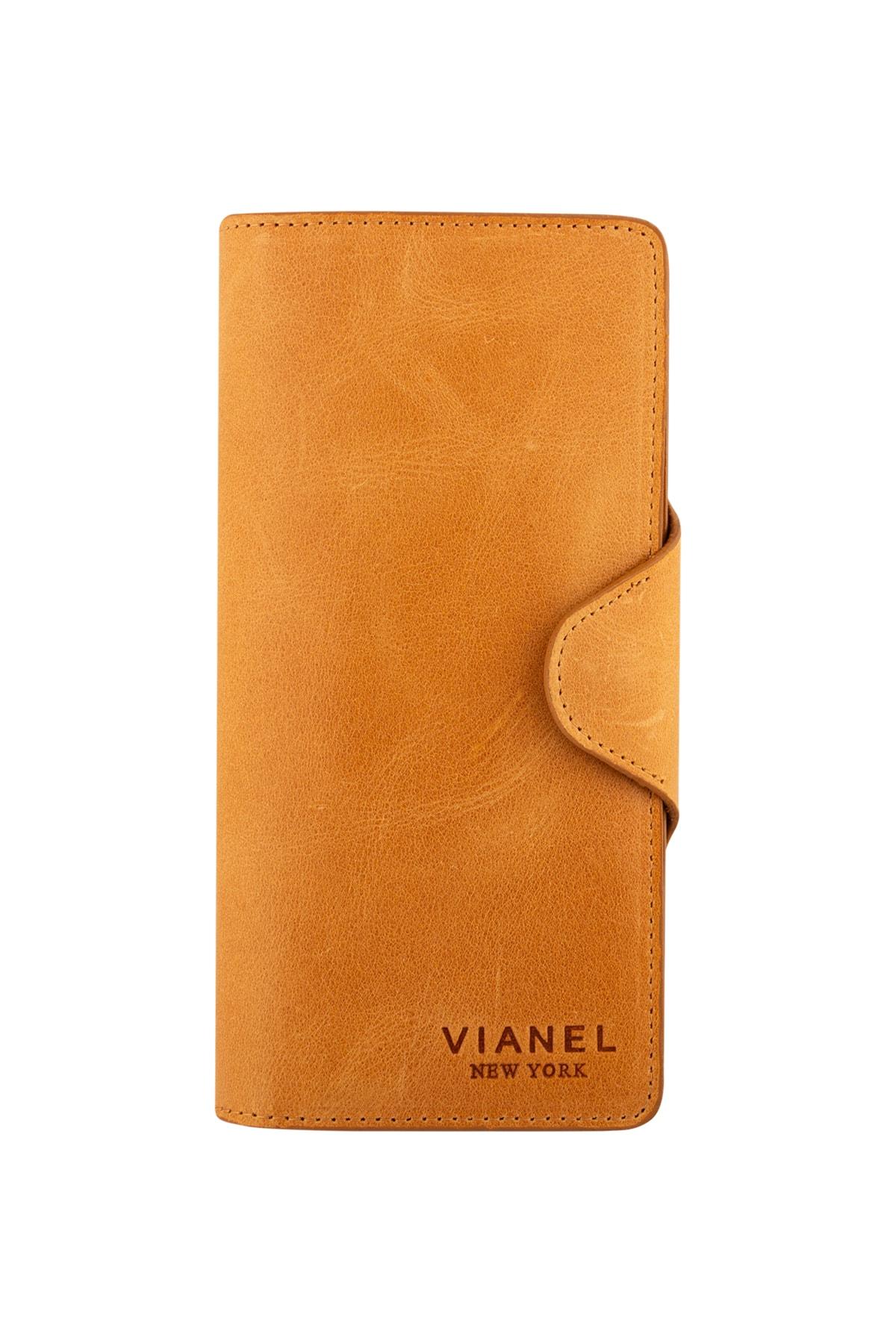 Vianel New York Unisex Axel Crazy Deri Hardal Sarısı Portföy Cüzdan 1