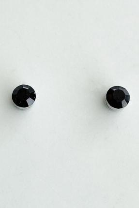 TAKIŞTIR Siyah Renk Taşlı Mıknatıslı Küpe