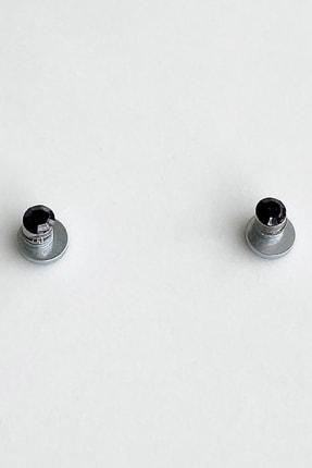 TAKIŞTIR Unisex Siyah Renk Küçük Boy Taşlı Mıknatıslı Küpe
