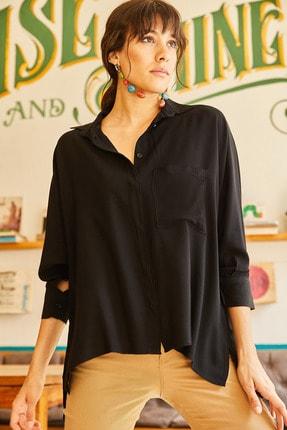 Olalook Kadın Siyah Cepli Salaş Gömlek 11 GML-19000420