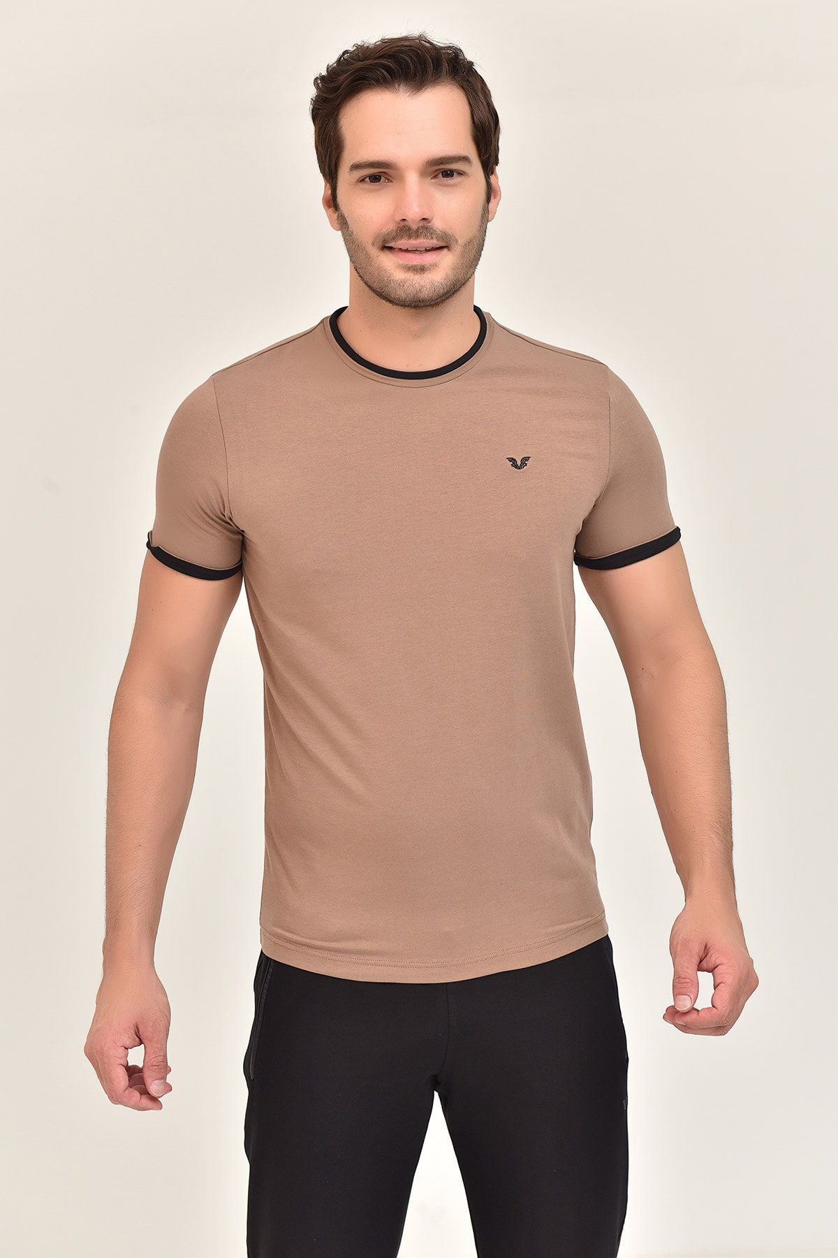 bilcee Kahverengi Pamuklu Erkek T-Shirt ES-2374 1