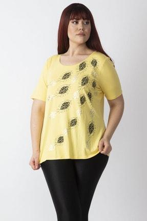Şans Kadın Sarı Lame Baskılı Bluz 65N16137