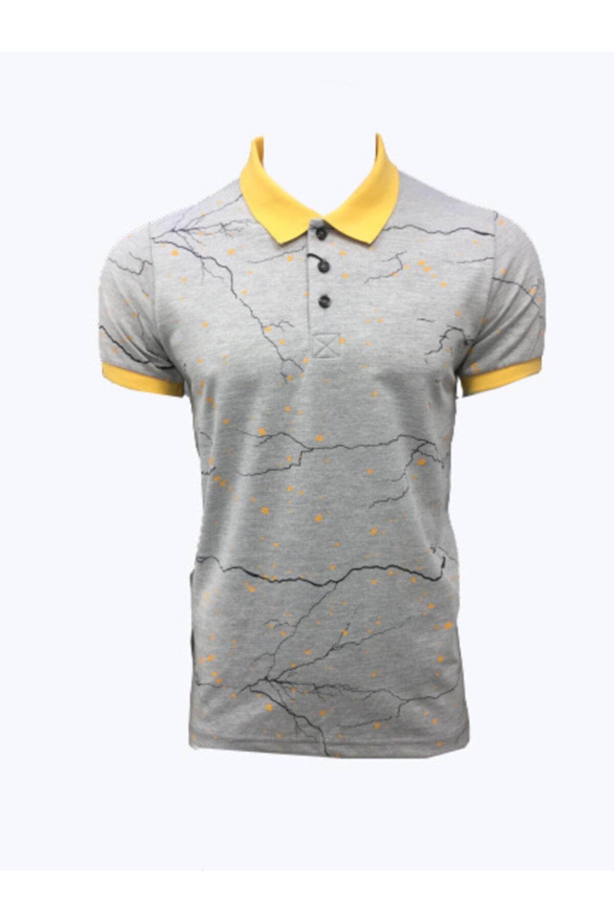 Lion Erkek Polo Yaka  T-shirt 2521 Gri Melanj Pike Dokuma Baskılı 1