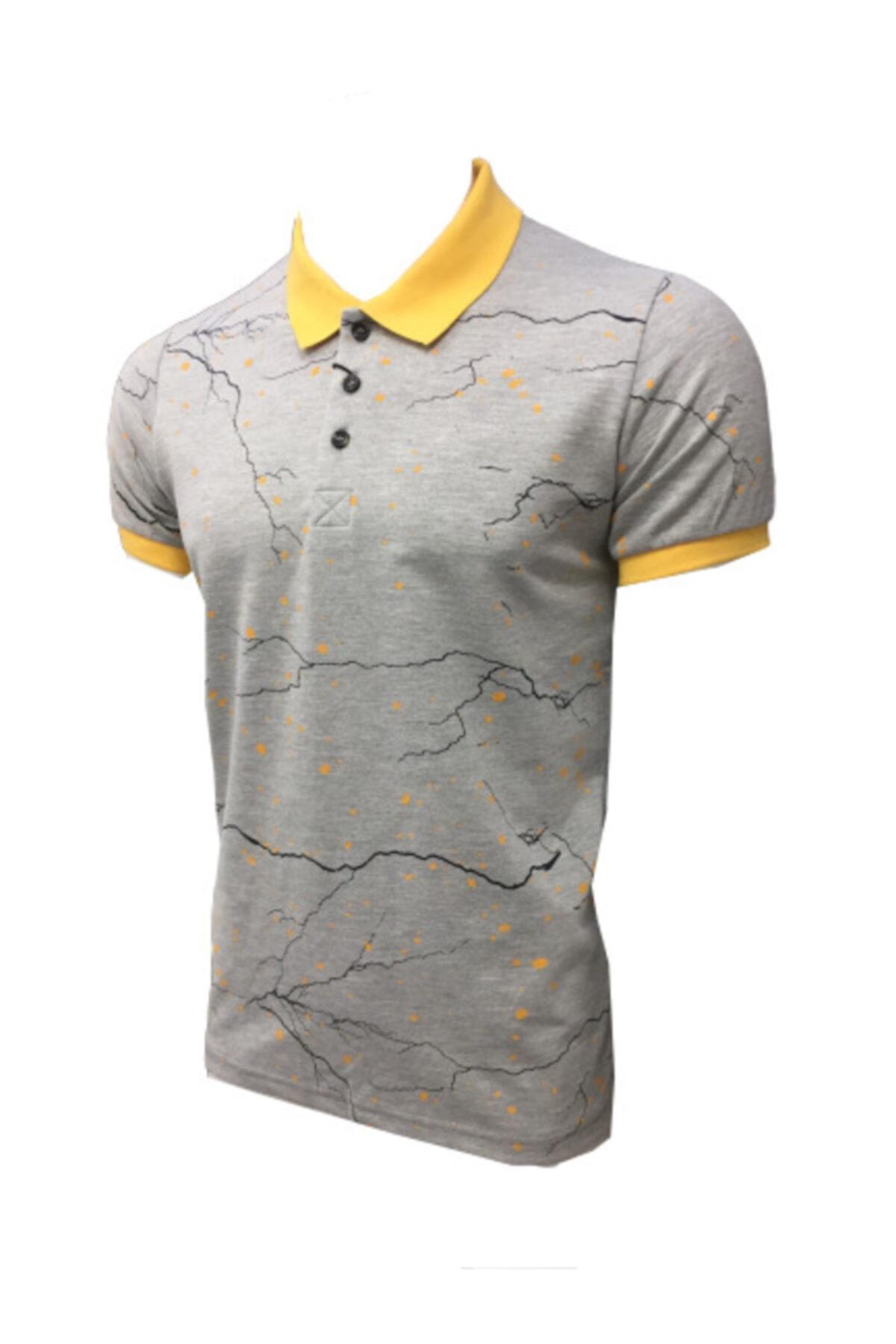 Lion Erkek Polo Yaka  T-shirt 2521 Gri Melanj Pike Dokuma Baskılı 2