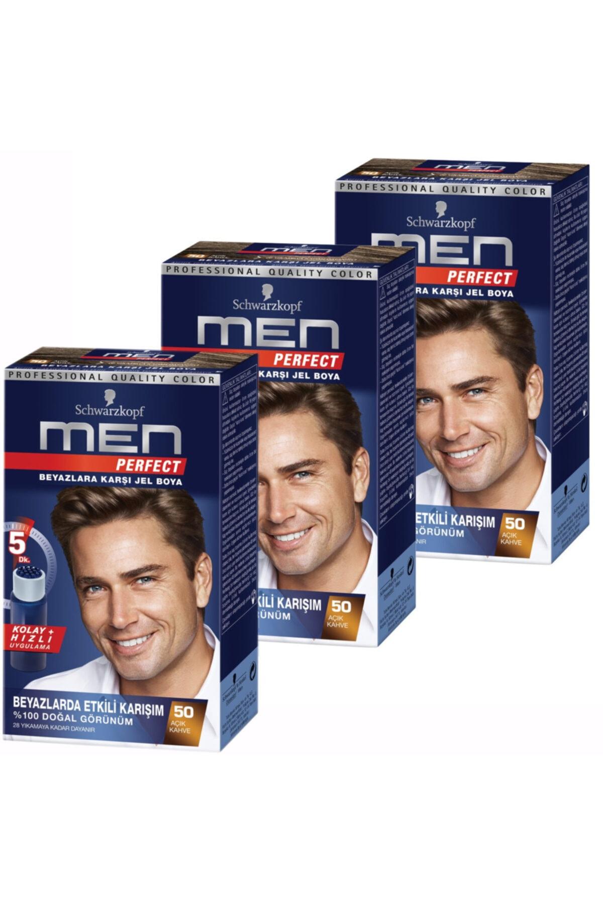 SCHWARZKOPF HAIR MASCARA Men Perfect 50 Açik Kahve 3 Li 1